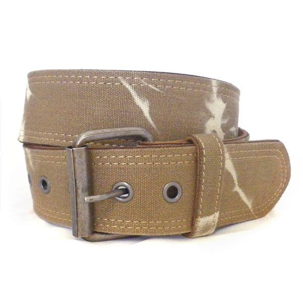 MIGUEL - Mens Sand Canvas & Leather Belt-Mens Belt-BeltNBags-BeltNBags