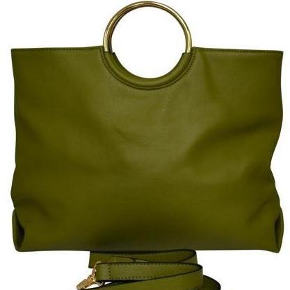 Green Millfield Structured Leather Ring Handle Bag - Belt N Bags