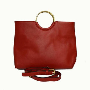 Millfield - Womens rED Leather Ring Handle Tote Shoulder Crossbody Bag - BeltNBags