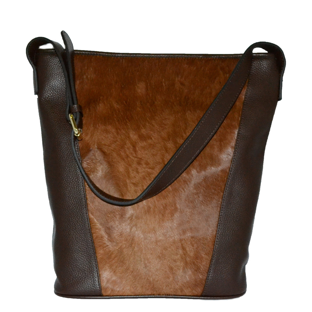 MILTON - Addison Road Tan Calf Hair Pebbled Leather Slouch Tote Bag  - Belt N Bags