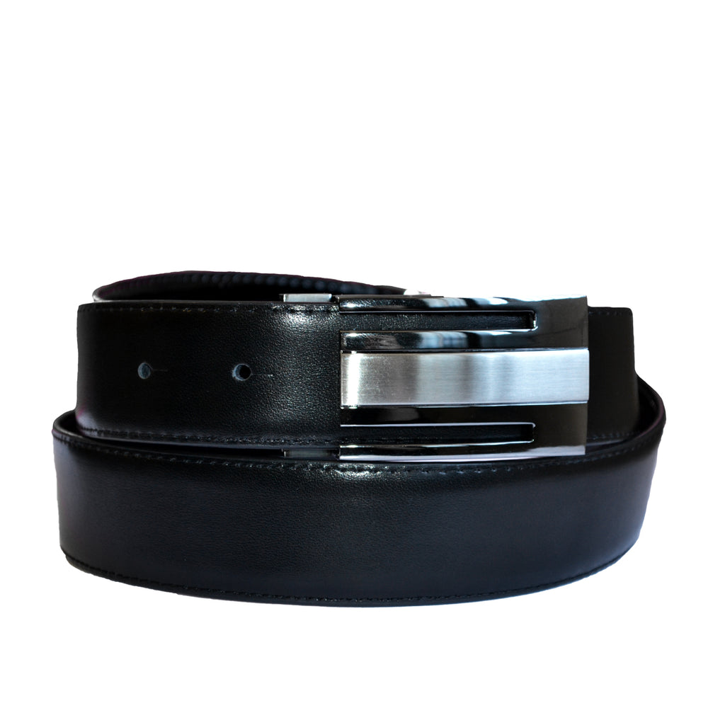 MARTIN- Men's Black Patent Genuine Leather Belt with Shield Buckle  - Belt N Bags