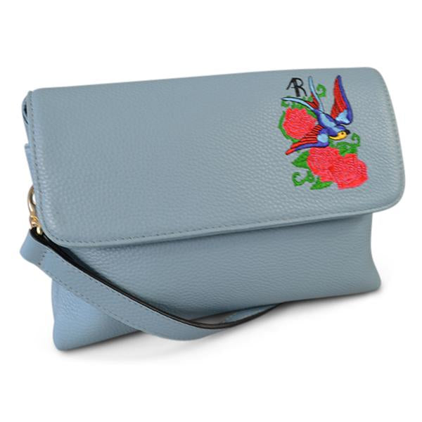 NAMBUCCA- Addison Road Embroidered Blue Genuine Leather Crossbody  - Belt N Bags