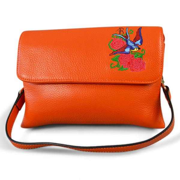 NAMBUCCA - Addison Road Embroidered Orange Pebbled Leather Crossbody  - Belt N Bags