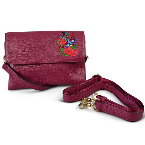 NAMBUCCA - Pink Leather Embroidered Crossbody Bag  - Belt N Bags