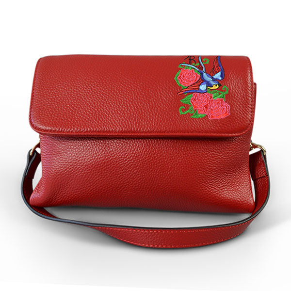 NAMBUCCA - Addison Road Embroidered Red Genuine Leather Crossbody Bag - BeltNBags