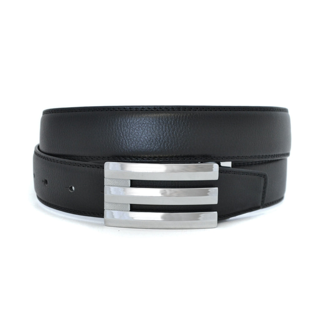 OAKES - Mens Black Reversible Leather Belt  - Belt N Bags