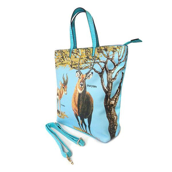 OLIVIA - Womens Blue Animal Print Tote Bag  - Belt N Bags