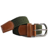 OSCAR - Mens Olive Woven Cotton Elastic Belt - BeltNBags