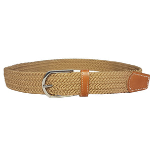 OSCAR - Mens Beige and Burgundy Woven Cotton Elastic Belt Gift Pack