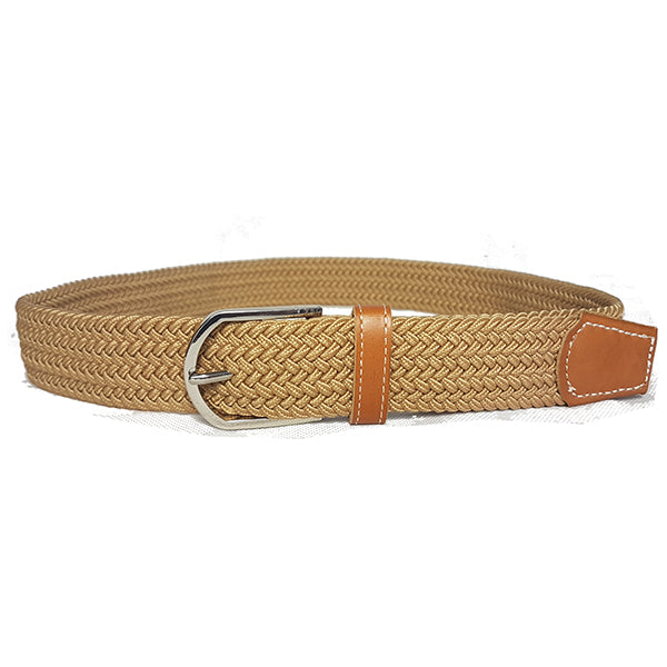OSCAR - Mens Beige Woven Cotton Elastic Belt - BeltNBags