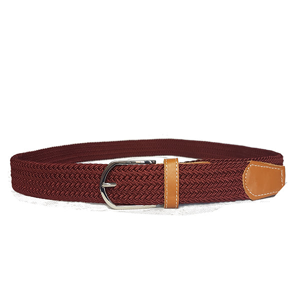 OSCAR - Mens Burgundy Red Woven Cotton Elastic Belt - BeltNBags