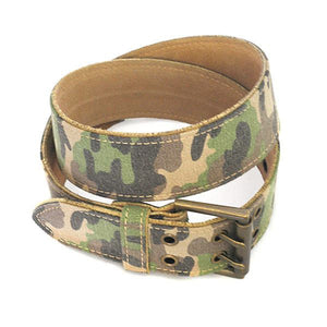 PARKER - Mens Khaki Canvas & Leather Belt  - Belt N Bags