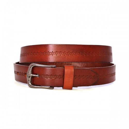 PATIA - Womens Tan Embossed Flower Pattern Leather Belt  - Belt N Bags
