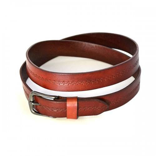 PATIA - Womens Tan Embossed Flower Pattern Leather Belt - BeltNBags