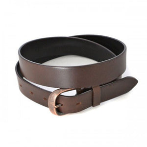 PEDRO - Mens Brown Leather belt with Antique Copper Buckle - BeltNBags