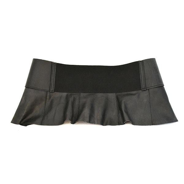 PENE - Black Leather Peplum Belt - CLEARANCE  - Belt N Bags