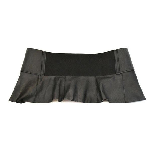 PENE - Black Leather Peplum Belt - CLEARANCE