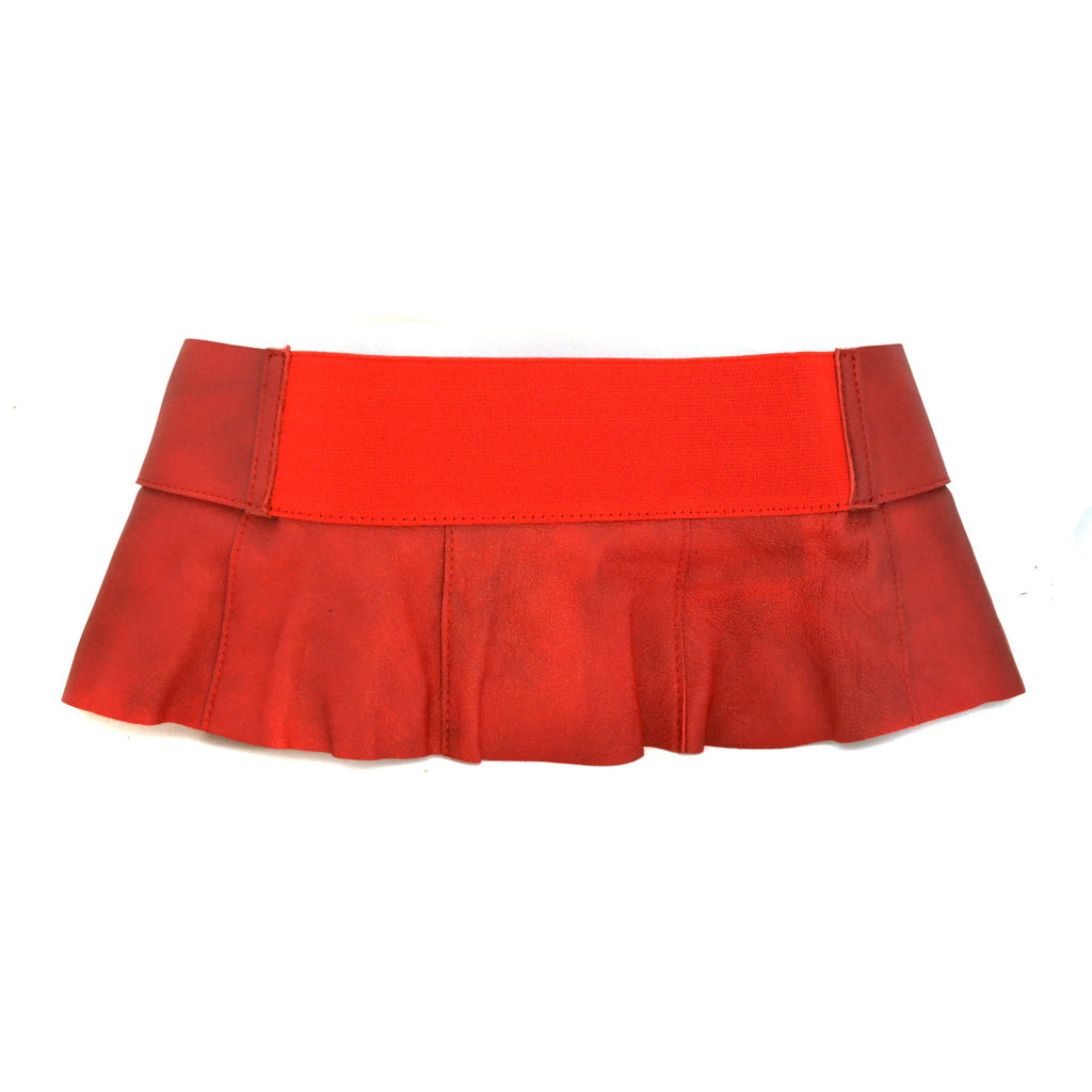 PENE - Red Leather Peplum Belt - CLEARANCE - BeltNBags