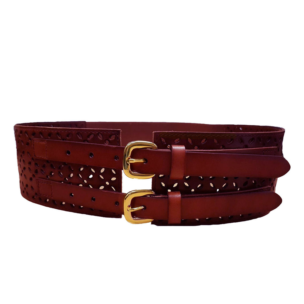 PICTON - Addison Road Double Buckle Wine Wide Waist Belt  - Belt N Bags