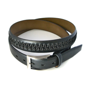 ROBERTO - Mens Black Leather Belt  - Belt N Bags