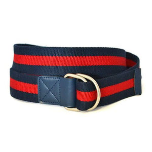 Adelia - Womens Cotton Canvas Red Navy D-Ring Nautical Stripe Belt - BeltNBags