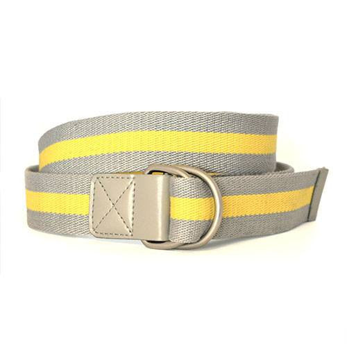 Adelia - Womens Yellow D-Ring Stripe Belt  - Belt N Bags