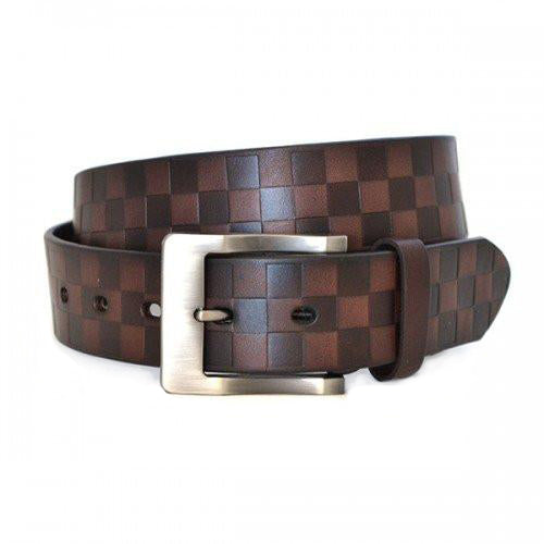 RAFFERTY - Mens Brown Check Print Leather Belt - CLEARANCE
