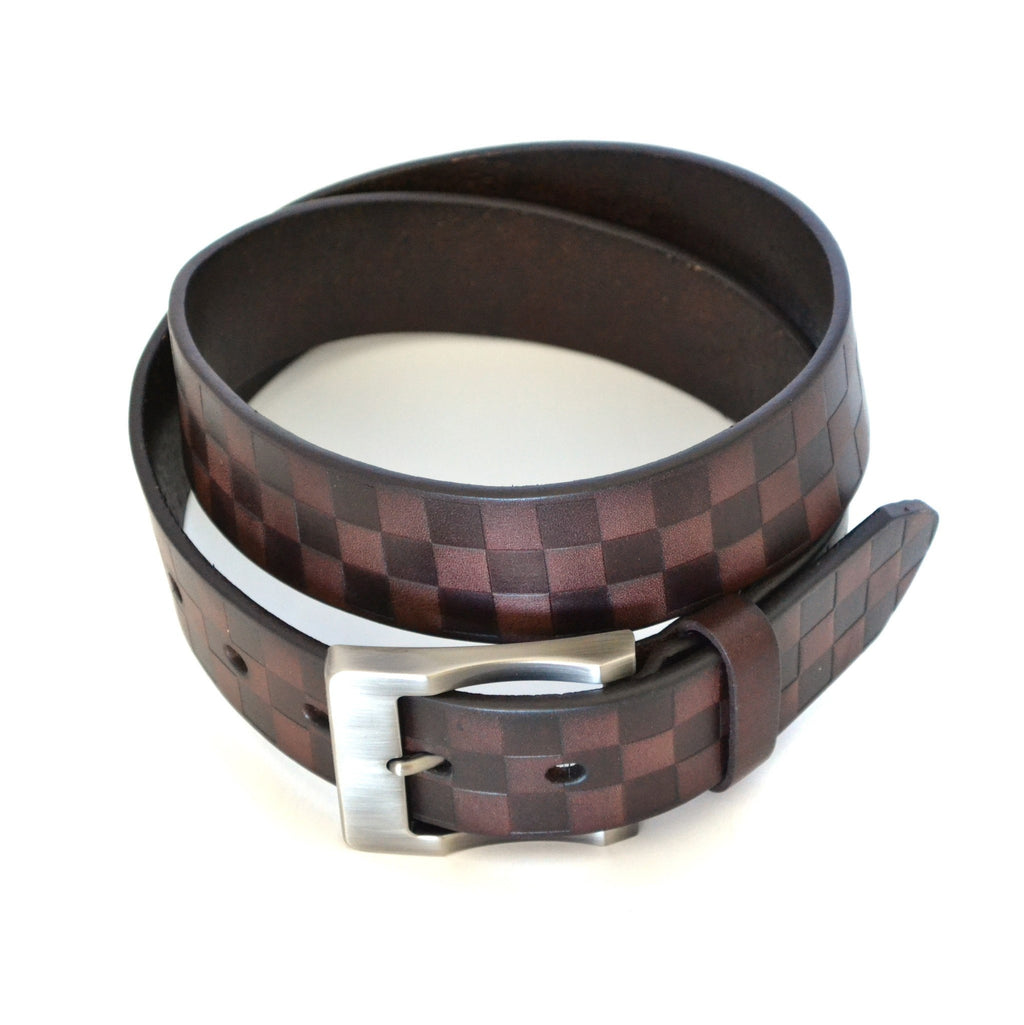 RAFFERTY - Mens Brown Check Print Leather Belt - CLEARANCE  - Belt N Bags