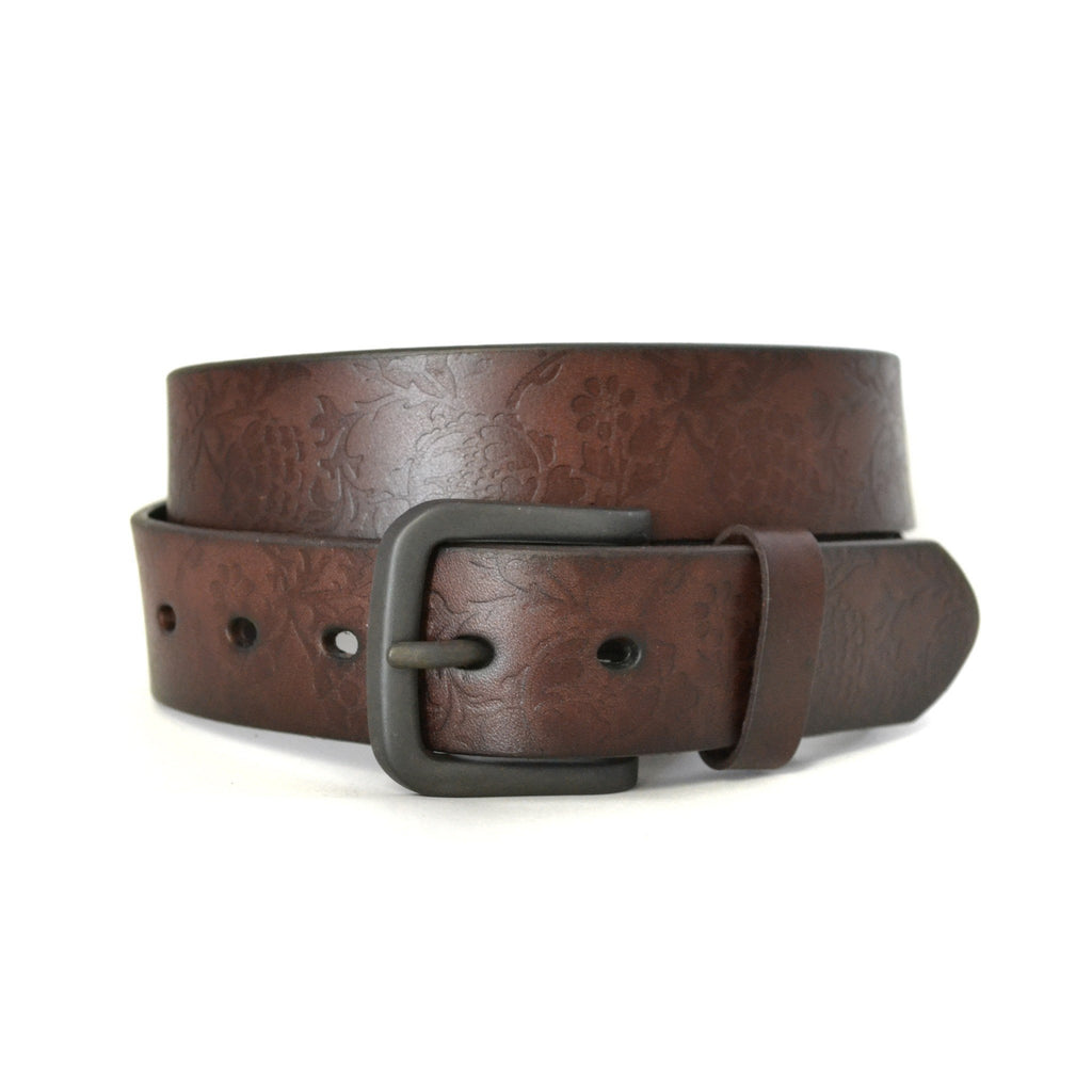RAGET - Mens Brown Leather Belt with Embossed Flower Detail