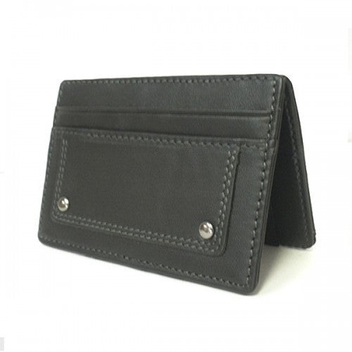 REGAN - Mens Black Genuine Leather Thin Magic Flip Wallet - BeltNBags