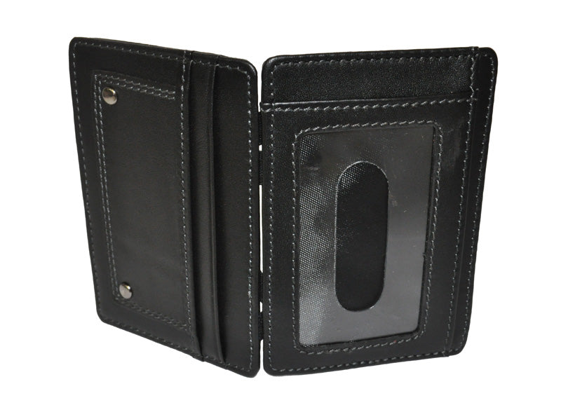 REGAN - Mens Black Genuine Leather Thin Magic Flip Wallet  - Belt N Bags