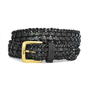RIETERS - Mens Black Leather Plait Belt  - Belt N Bags