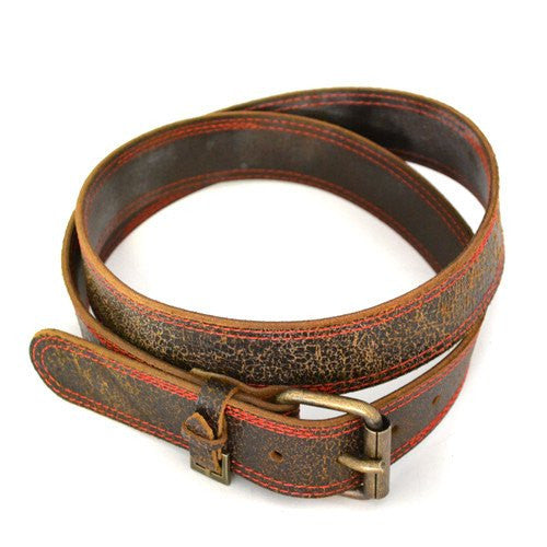 RILEY - Mens Dark Brown and Red Leather Belt - CLEARANCE  - Belt N Bags