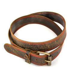RILEY - Mens Dark Brown and Red Leather Belt