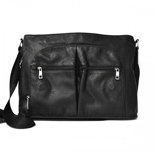 RIVERBANK - Mens Black Leather Crossbody Bag - BeltNBags