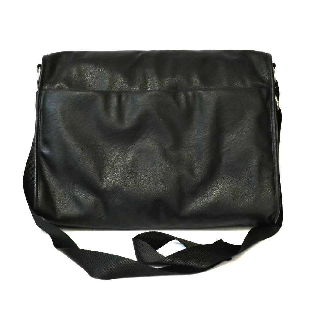 RIVERDALE - Mens Black Faux Leather Laptop Bag - BeltNBags