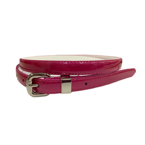 CARRIE - Womens Red Rose Patent Skinny Leather Belt