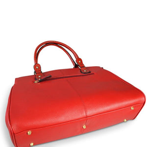 ROTHBURY Red Leather Weekender Overnight Business Bag  - Belt N Bags