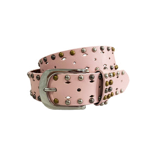 VIOLET- Girls Pink Genuine Leather Belt with Silver Buckle