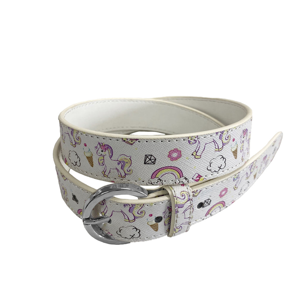 EMILY- Girls White Genuine Leather Flower Belt with Silver Buckle