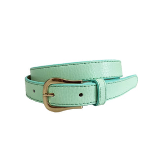 CHLOE- Girls Light Green Genuine Leather Belt with Golden Buckle
