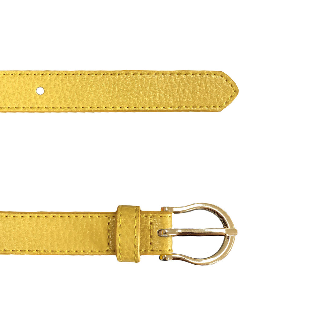 DAISY - Girls Yellow Genuine Leather Belt with Golden Buckle