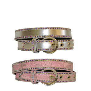 Girls Sparkly Pink and Silver Belt with Colourful Stones - Belt N Bags