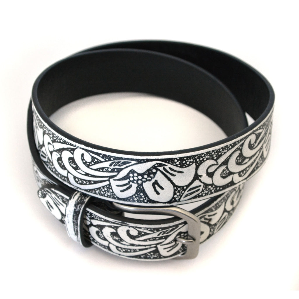 SKYLA - Unisex Black and Cream Leather Belt - CLEARANCE  - Belt N Bags
