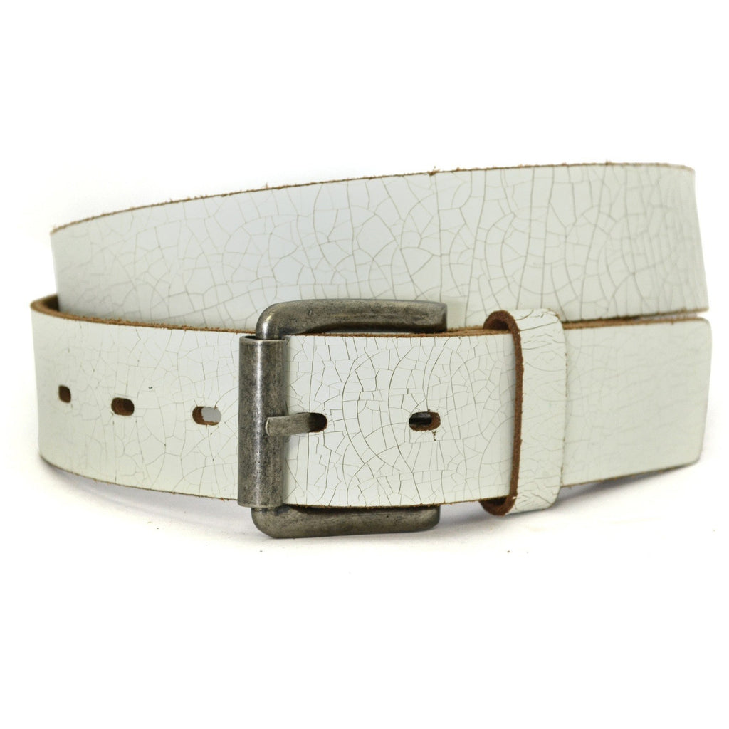 STEVEN - Mens White Leather Belt - CLEARANCE  - Belt N Bags