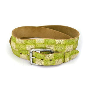 SVEN - Mens White & Green Leather Belt - BeltNBags