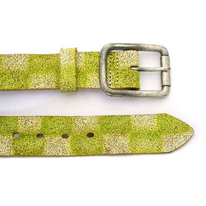 SVEN - Mens White & Green Leather Belt - CLEARANCE  - Belt N Bags