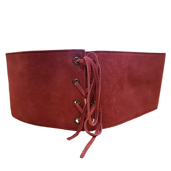ARCADIA - Red Addison Road Suede Corset Waist Belt Cincher Style - Belt N Bags