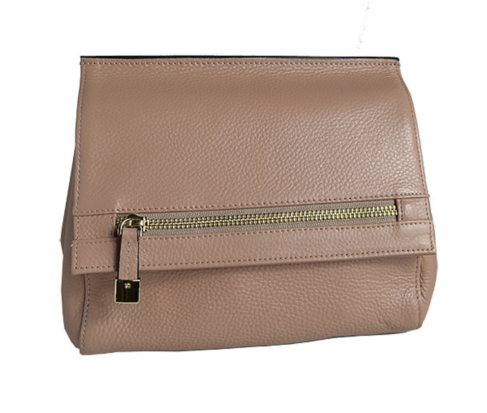 HUNTERS HILL-  Nude Genuine Leather Crossbody Shoulder Bag  - Belt N Bags