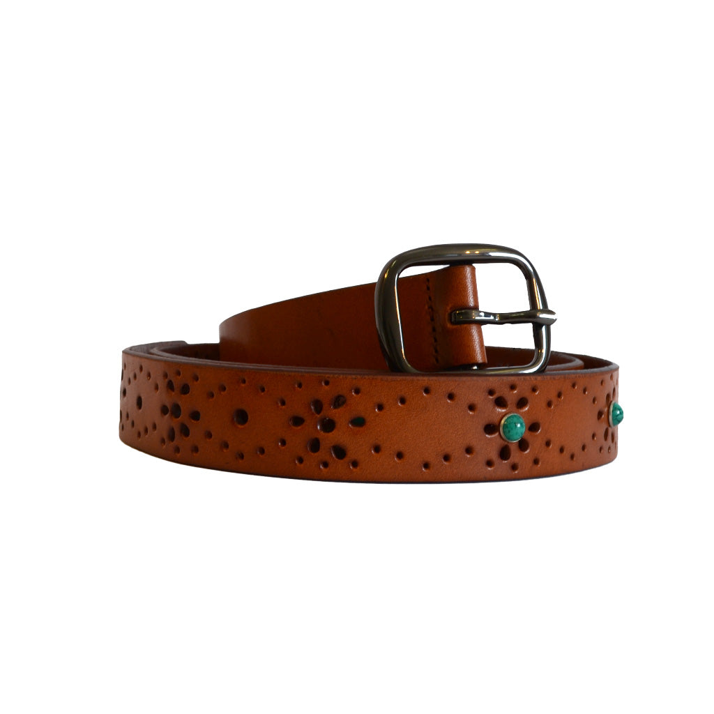 SHARNEE - Womens Tan Genuine Leather Floral Laser Cut Belt  - Belt N Bags